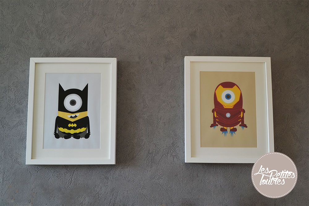 TABLEAU-SUPER-HEROS-MINIONS-BATMAN-IRONMAN